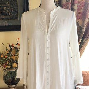 ZARA off-white top, peplum, bell sleeve, NWT, Sz M